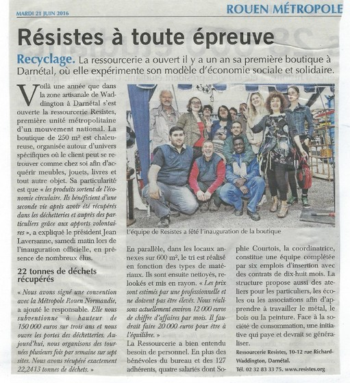 Article Paris Normandie - juin 2016